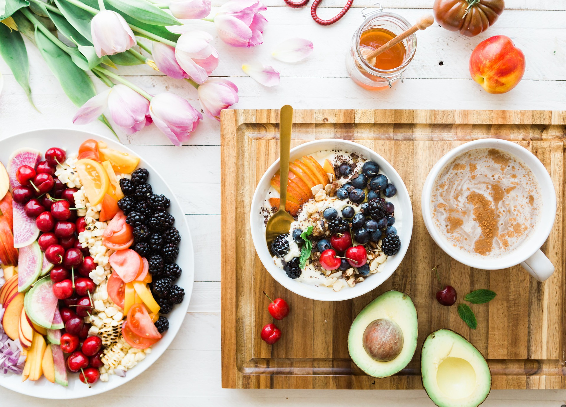 breakfast with fruits and avocado
